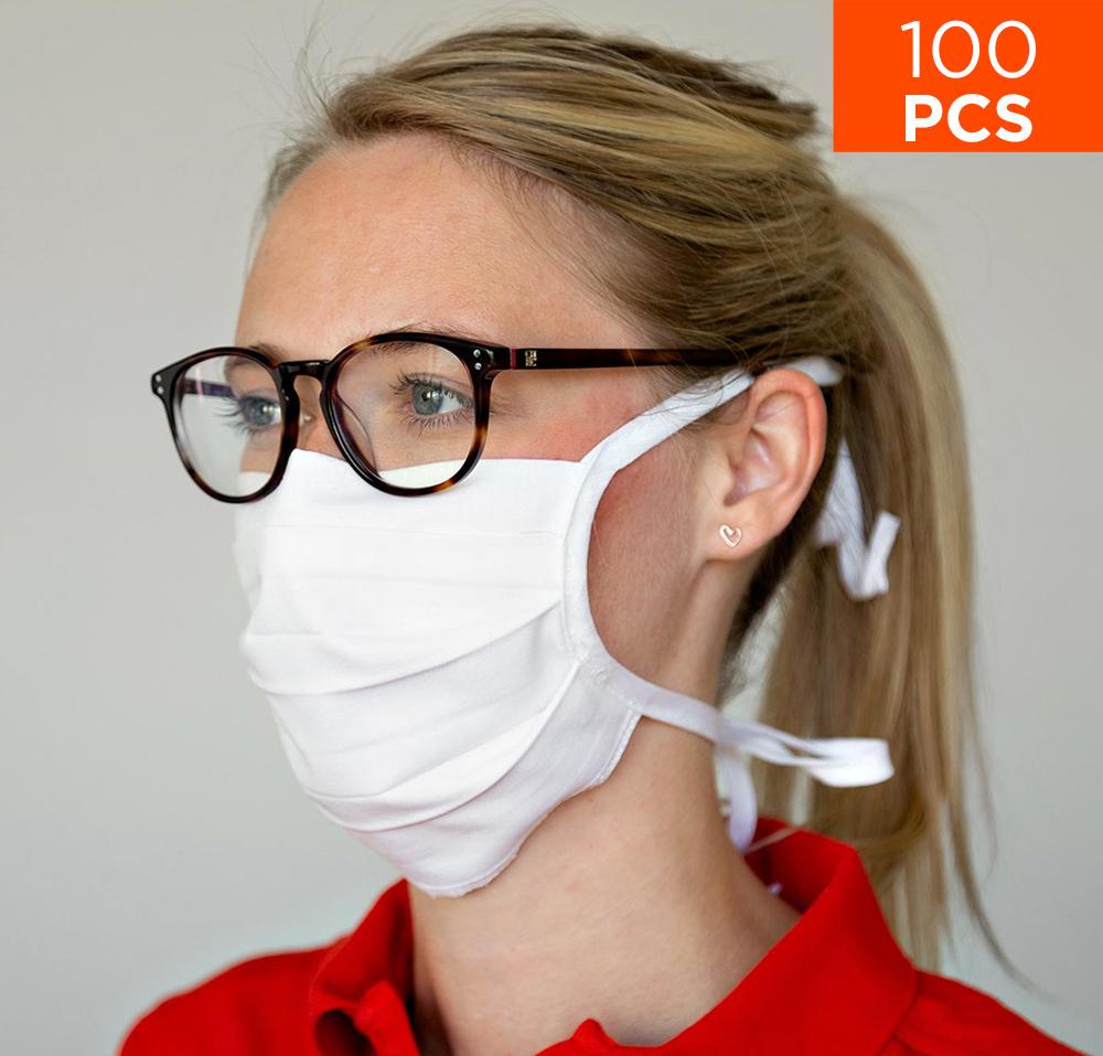 celexon Behelfs- Mund- und Nasenmaske Premium 100% Baumwolle mehrlagig ÖkoTex100 - 100er Pack - mit Binder