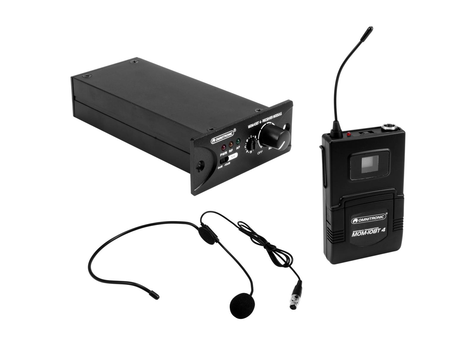 OMNITRONIC Set MOM-10BT4 Empfangsmodul + Taschensender + Headset-Mikrofon