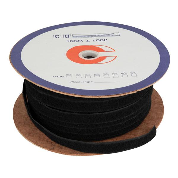 Showgear Velcro Loop, Spool, 2 cm wide, sew-on Schwarz, 100m
