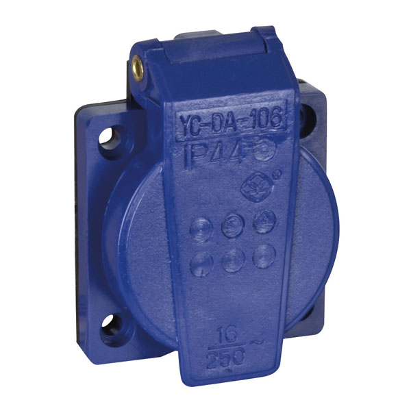 Showgear Chassis connector with cover VDE Blau
