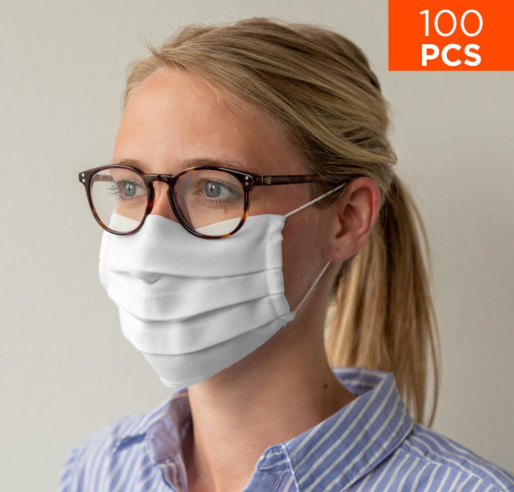 celexon Behelfs- Mund- und Nasenmaske Premium 100% Baumwolle mehrlagig ÖkoTex100, mit Gummi - 100er Pack