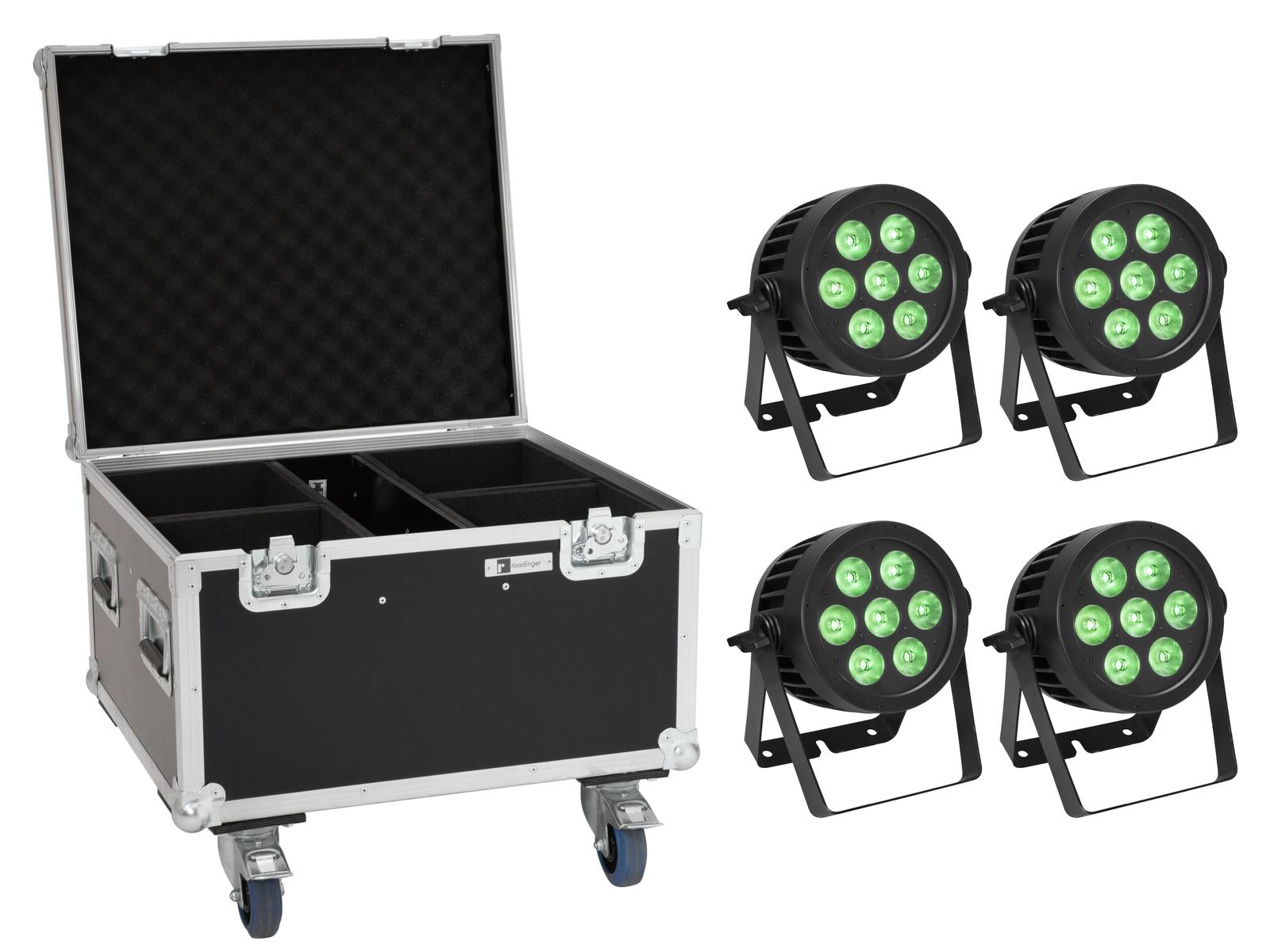 EUROLITE Set 4x LED IP PAR 7x8W QCL Spot + Case mit Rollen