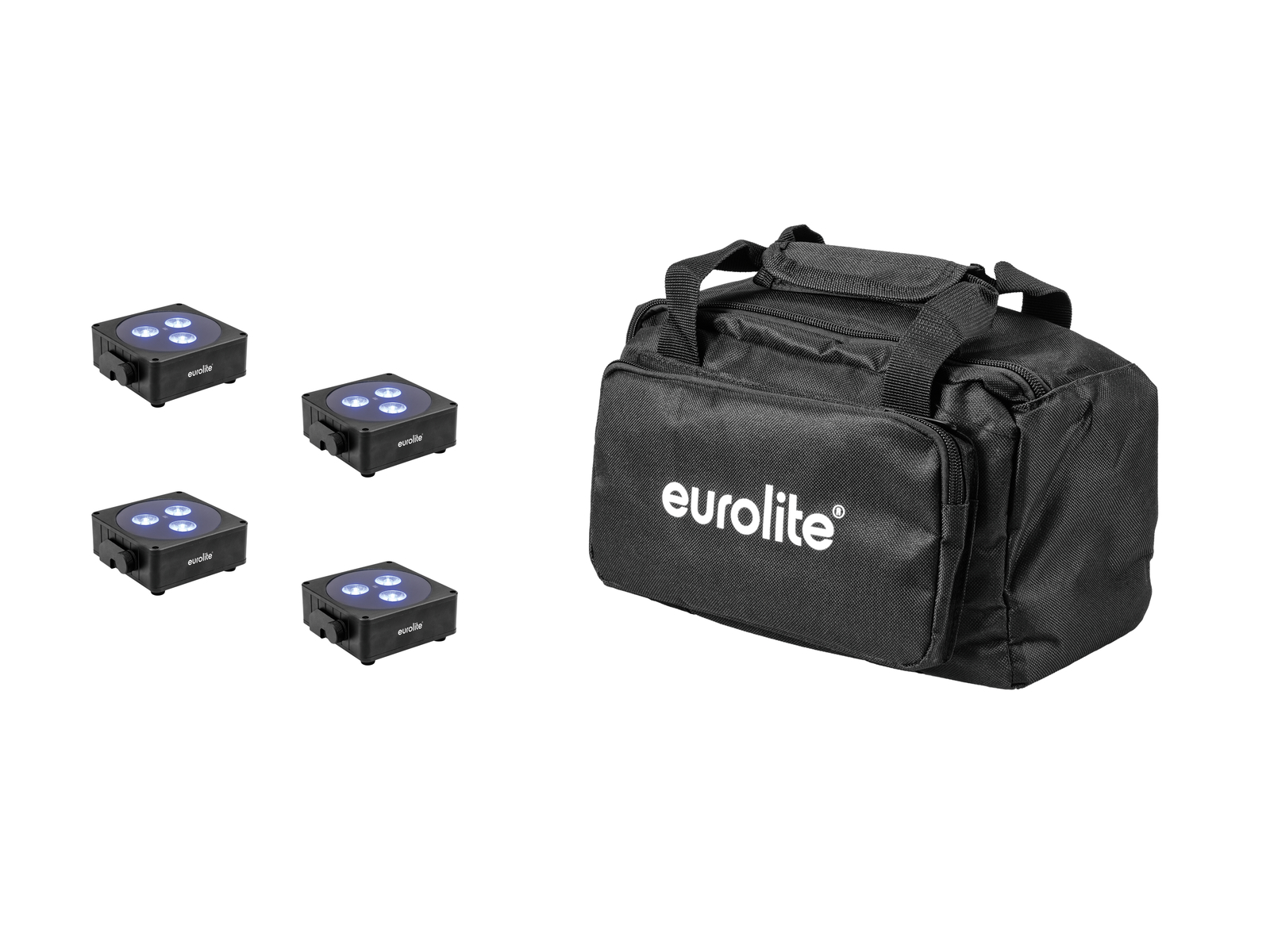EUROLITE Set 4x AKKU Flat Light 3 sw + Soft-Bag