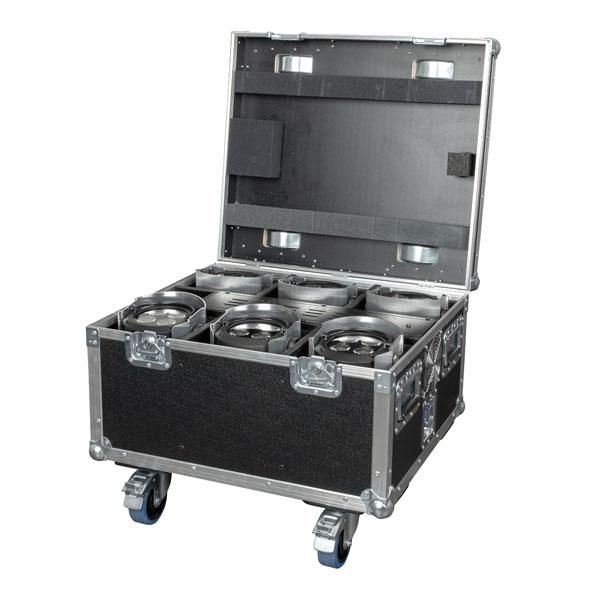 Showtec EventSpot 1600 Q4 Set Koffer mit Ladegerät für 6x Stück, gebürstetes Aluminium