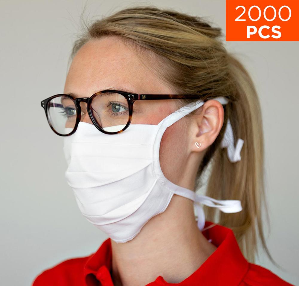 celexon Behelfs- Mund- und Nasenmaske Premium 100% Baumwolle mehrlagig ÖkoTex100 - 2000er Pack - mit Binder