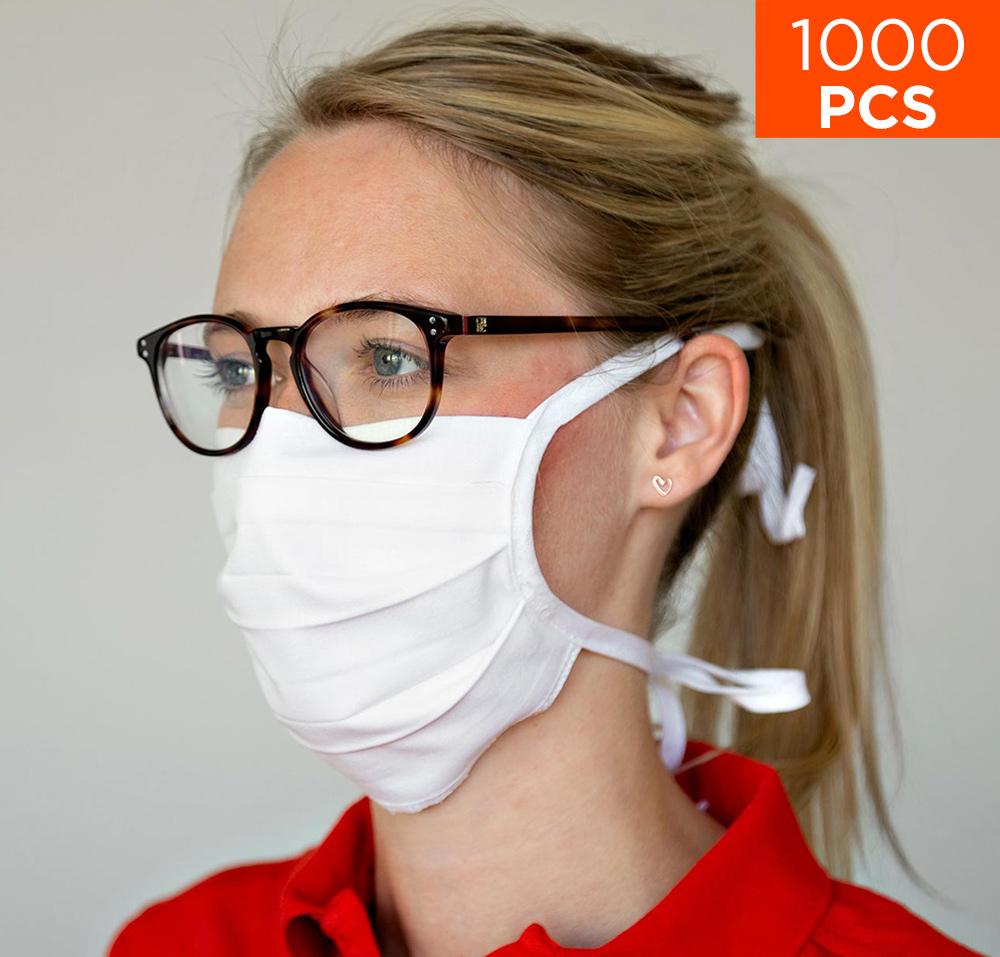 celexon Behelfs- Mund- und Nasenmaske Premium 100% Baumwolle mehrlagig ÖkoTex100 - 1000er Pack - mit Binder