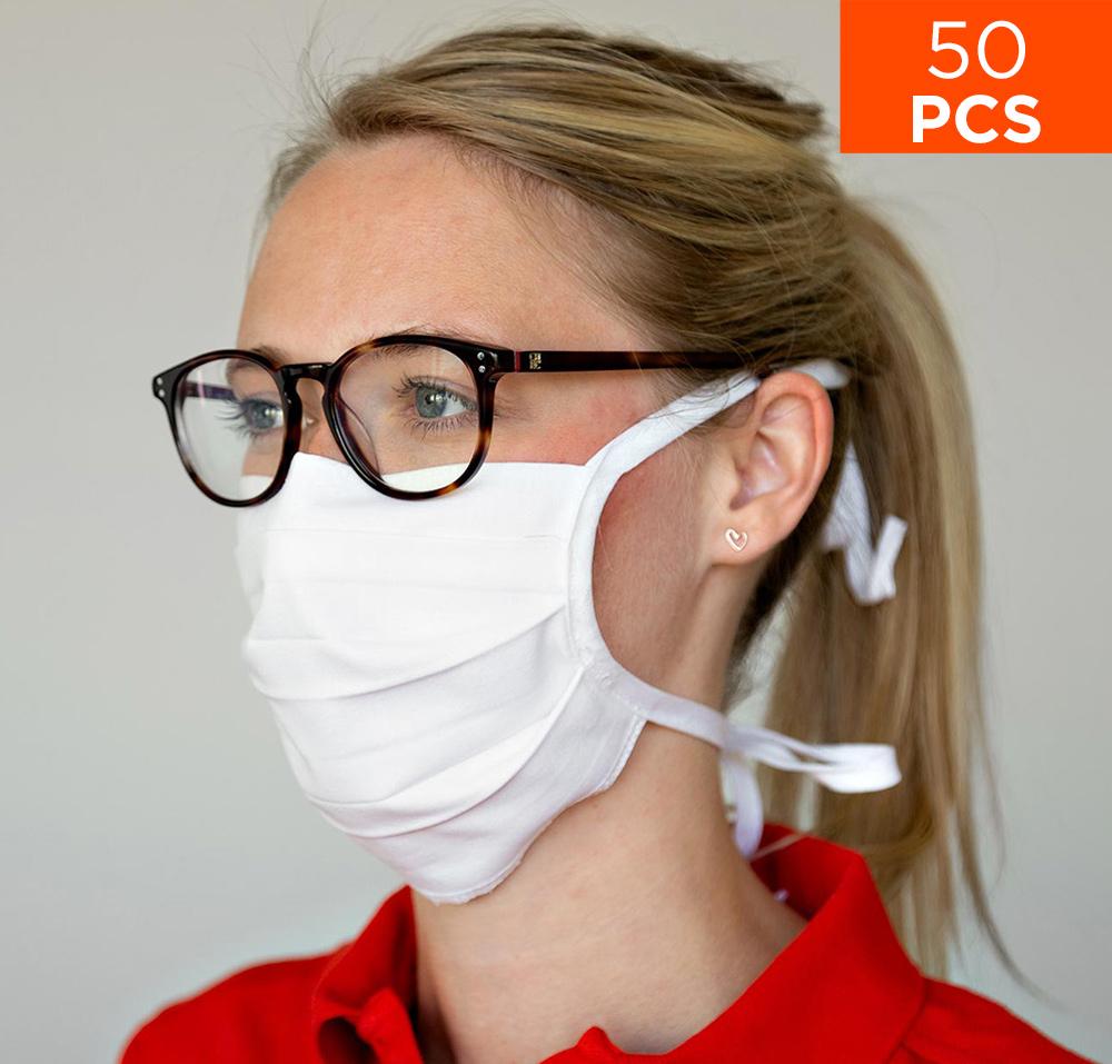 celexon Behelfs- Mund- und Nasenmaske Premium 100% Baumwolle mehrlagig ÖkoTex100 - 50er Pack - mit Binder